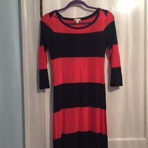 Gap three-quarter sleeve striped maxi dress